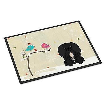 Christmas Presents between Friends Pekingnese Black Indoor or Outdoor Mat 18x27
