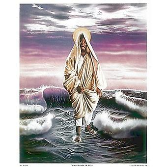 Jesus geht auf dem Wasser-Plakat-Druck von einem Hicks (17 x 21)