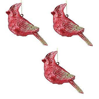 Lyse rød fugl kardinal juleferien ornamenter 4,75 tommer sæt af 3