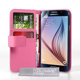 Samsung Galaxy S6 billetera de cuero-efecto caso - rosa