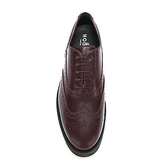 Hogan women's HXW2590R3211QAL812 Burgundy leather lace-up shoes