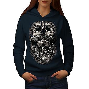 Beard Hipster Cool Skull Women NavyHoodie | Wellcoda