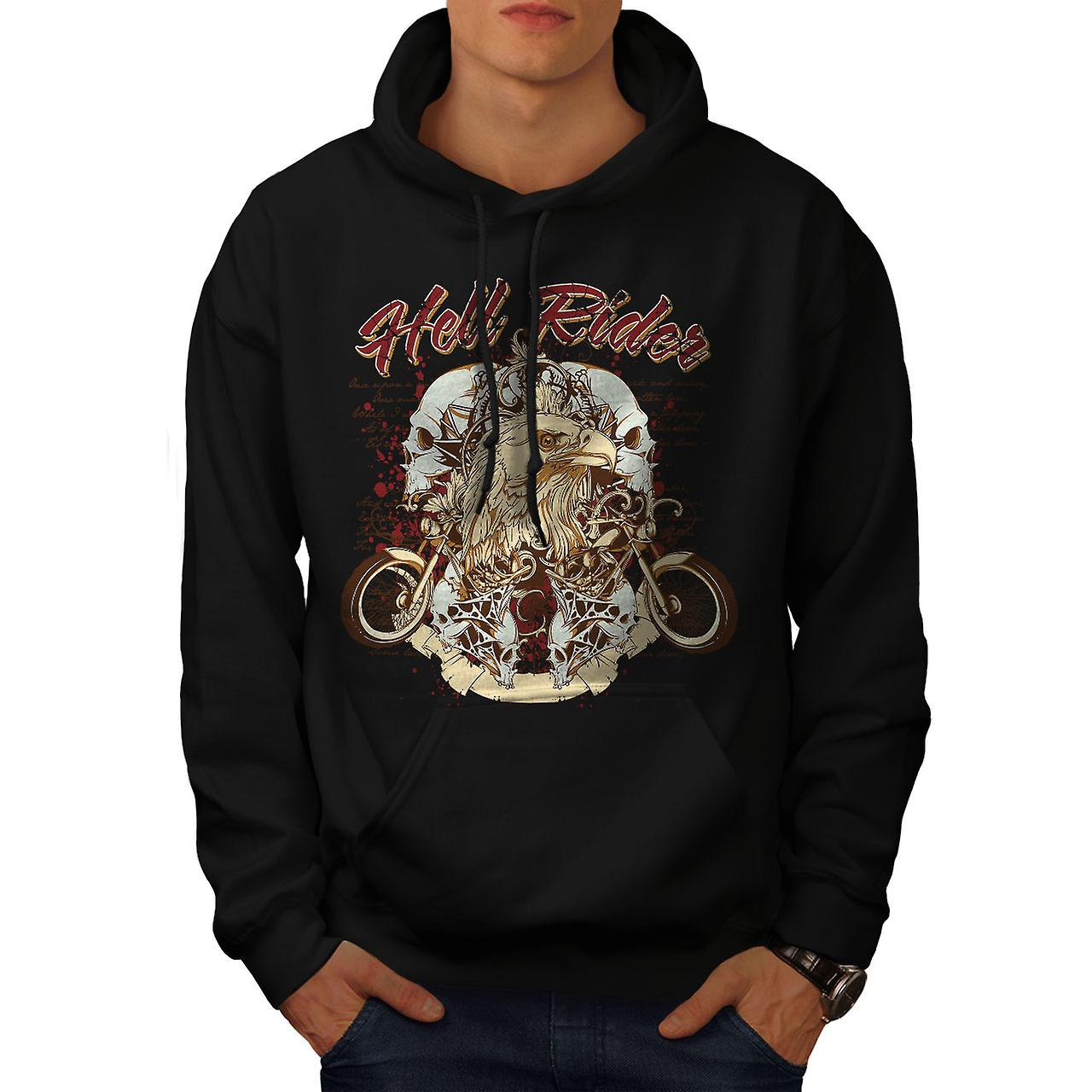 Hell Rider Eagle Biker Men Black Hoodie | Wellcoda