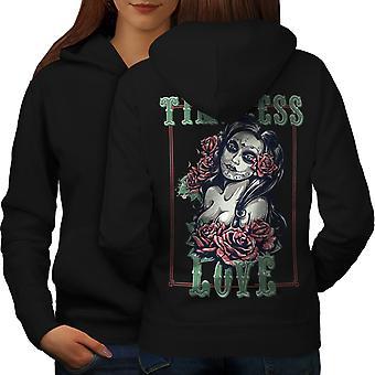 Ponadczasowa miłość Róża kobiet BlackHoodie tyłu | Wellcoda