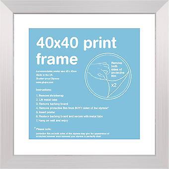40x40cm Flat Silver Satin Frame