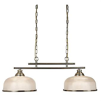 Bistro Ii Antique Brass Two Light Pendant With Glass Shades - Searchlight 3592-2ab
