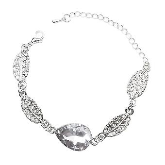 Silver Bracelet with Clear White Stone Teardrop Leaf