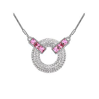 Ornate Crystal from Swarovski Element pink circle necklace