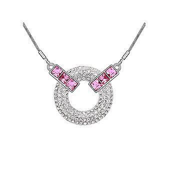 Cristal adornado de collar de Swarovski elemento círculo rosa