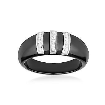 Ring Design Keramik schwarz, weißen Zirkonia Kristalle und Silber 925 - T52