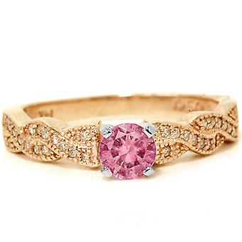 3 / 4ct Rosa safir & Diamond bana Vintage Ring 14K roséguld