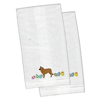 Belgian Sheepdog Easter White Embroidered Plush Hand Towel Set of 2