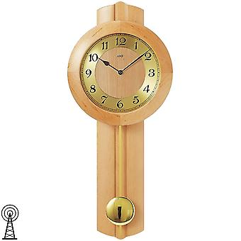 Radio controlled wall clock wall clock with pendulum radio solid wood Alder mineral glass