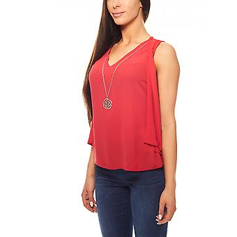 Blouses top summer necklace ladies top ashley brooke Red