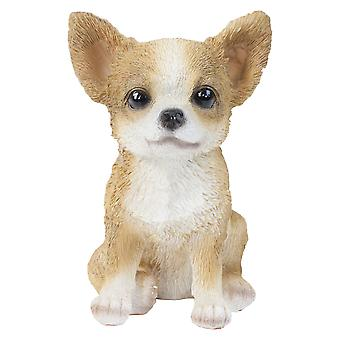 Realistic 15cm Sitting Chihuahua Puppy Dog Statue Ornament