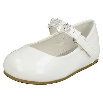 b96dee6aae43 Girls Spot On Diamante Flower Strap Ballerinas H2487 - White Synthetic  Patent - UK Size 6