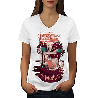 Müssen für Urlaub Frauen WhiteV-Neck T-shirt   Wellcoda