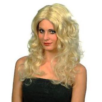Glamour peruk - blond långa lockar (antal 1)