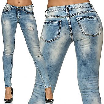 Ladies Skinny Jeans Pants Trousers Stretch Ripped Destroyed Stone Washed Hole