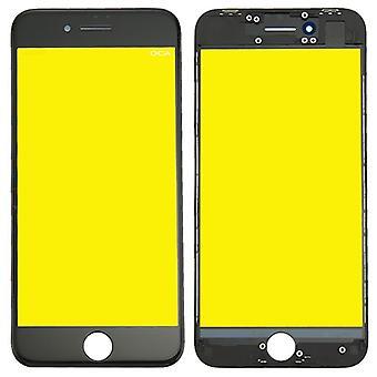 Visa glas för Apple iPhone 8 4,7 display glas LCD + ram + OCA lim delar svart