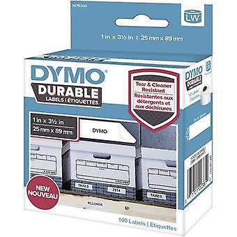DYMO etiqueta de 1976200 rollo 89 x 25 mm PE película blanco 100 PC permanente para las etiquetas, etiquetas de dirección