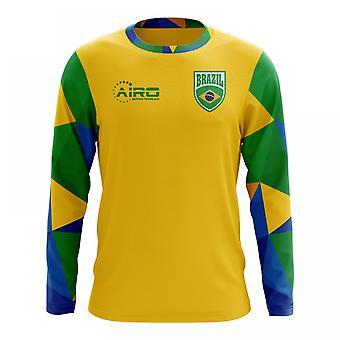 2018-2019 Brazylia długi rękaw koszuli piłki nożnej Home Concept