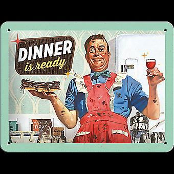 Dinner Is Ready Funny Metal Sign (200Mm X 150Mm)