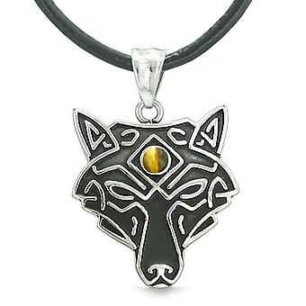 Celtic Wolf All Seeing Third Eye Magic Protection Amulet Tiger Eye Pendant Leather Necklace