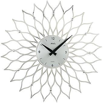 Dial кварцевые настенные часы кварца дизайн цветок в пластиковых серебристого металла