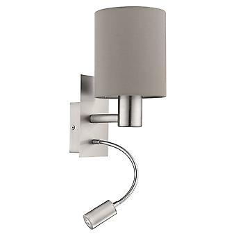 Eglo Pasteri Bedside LED Wall Reading Lamp With Taupe Shade