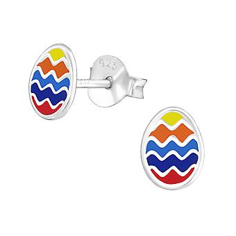 Easter Egg - 925 Sterling Silver Colourful Ear Studs - W21710x