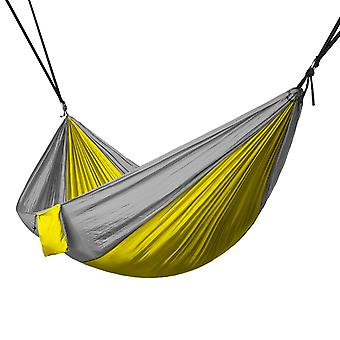 Portable 2 Person Hammock Rope Hanging Swing Fabric Camping Bed - Yellow & Grey