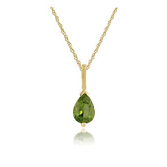 9ct Yellow Gold 0.66ct Pear Cut Peridot Single Stone Pendant on Chain