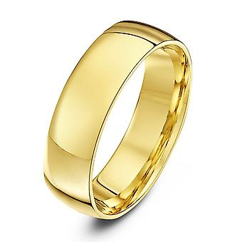 Star anneaux de mariage 18 carats jaune or lumière Cour forme 6mm bague de mariage