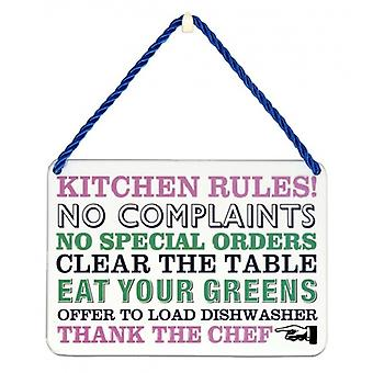 Novelty My Kitchen Rules Metal Wall Plaque