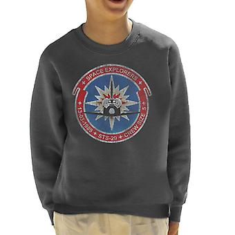 NASA STS 29 Discovery Mission Badge Distressed Kid's Sweatshirt