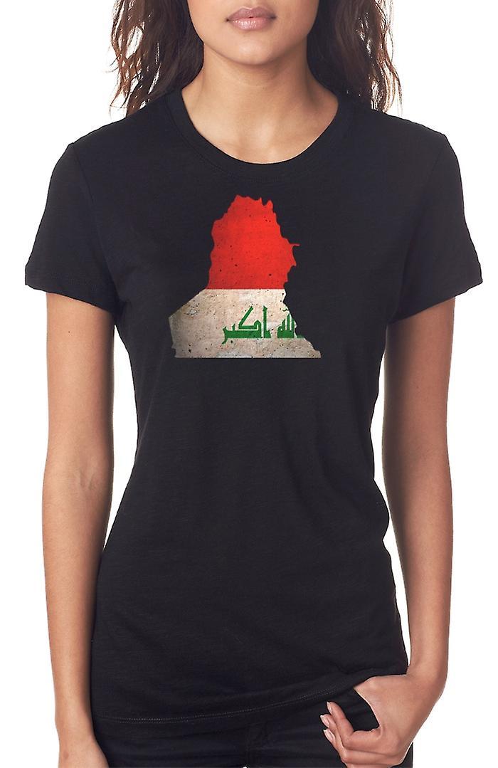 Iraqi Iraq Flag Map Ladies T Shirt