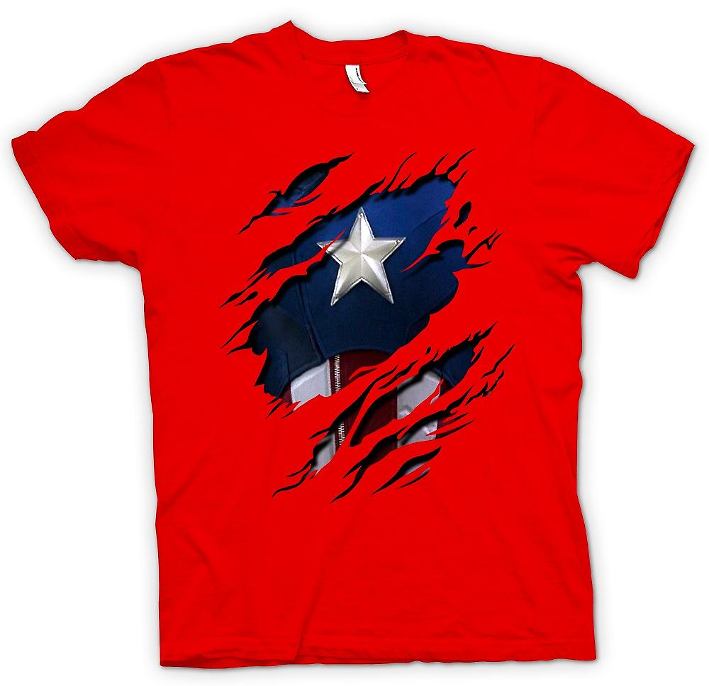 Mens T-shirt - Retro Captain America-Super-Helden Riss Design