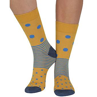 Spot n Stripe bamboo organic crew socks in yellow | seriouslysillysocks
