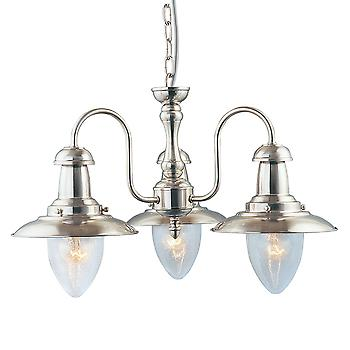 Searchlight 5333-3SS Fisherman Satin Silver 3 Light Pendant