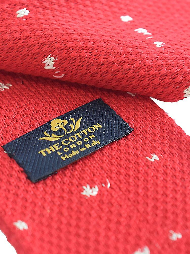 Compact weave pindot knitted tie – red