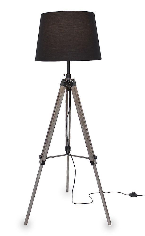 Kiom retro lamp floor lamp Elvy black wooden tripod 10855