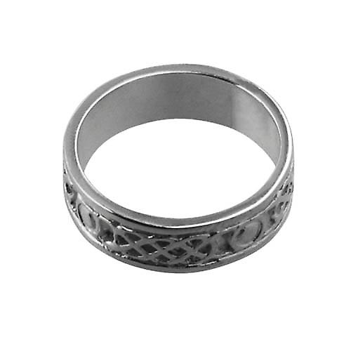 9ct White Gold 6mm Celtic Wedding Ring Size P