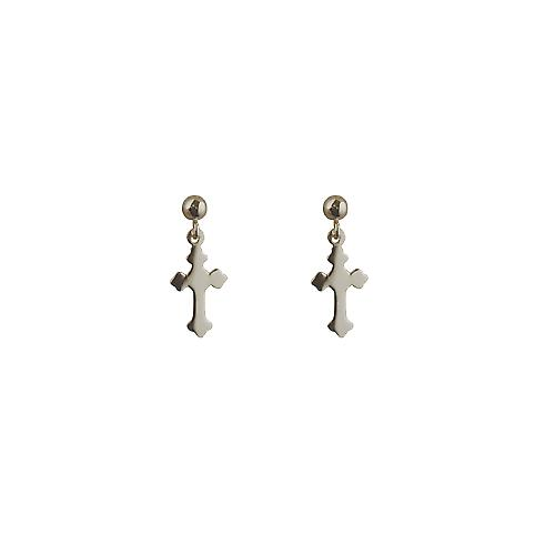 Silver 11x7mm plain Cross Dropper Earrings