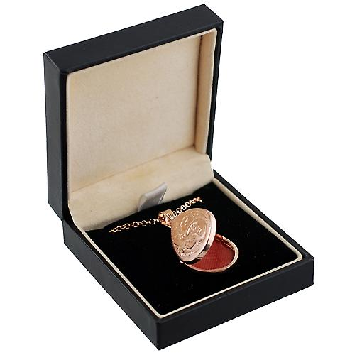 9ct Rose Gold 28x19mm engraved flat tear drop Locket with Belcher Chain