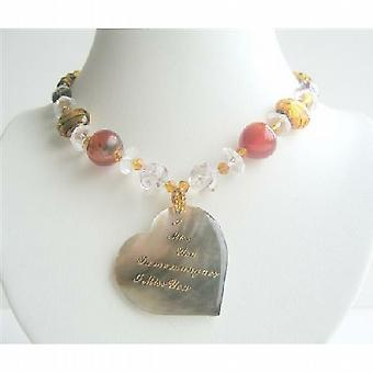 Shell Heart Pendant w/ Words I Miss You In English & French Necklace