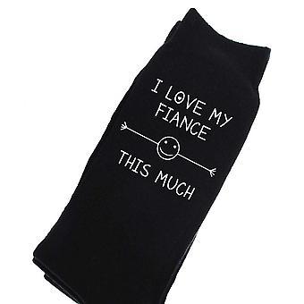Mens I Love My Dog This Much Black Calf Socks