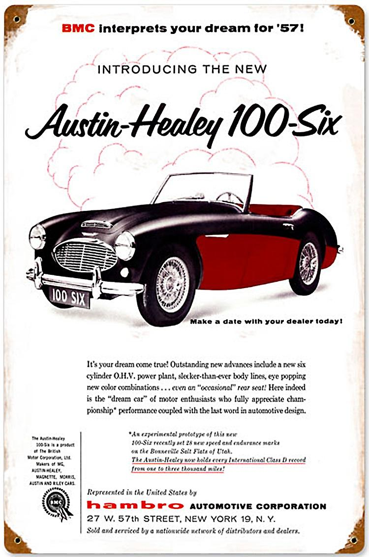 Austin Healey 100-six rusted metal sign (pst 1812)