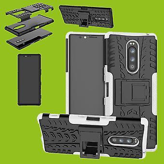 Hybrid Case 2teilig Robot Weiß für Sony Xperia 1 6.5 Zoll Tasche Hülle Cover Schutz