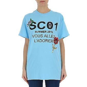 Semi-couture Light Blue Cotton T-shirt